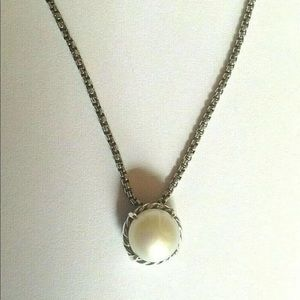 "David Yurman 8mm Pearl Chatelaine Necklace 18"""